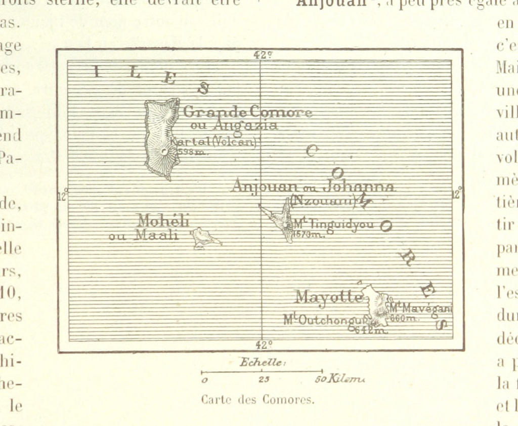 Old map of Comoros